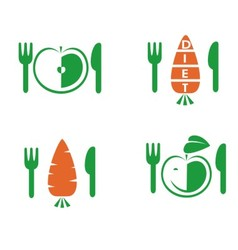 Diet icons on white background vector