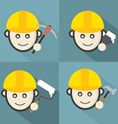 Flat design engineer icon with long shadow effect vector