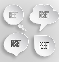 Reset white flat buttons on gray background vector