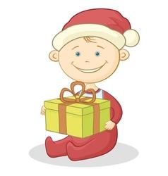 Baby santa claus with a gift box vector