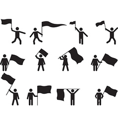 Pictogram people carrying flags vector