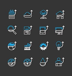 Flat icons set of business finance outline vector