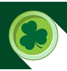 Button with dark green shamrock vector