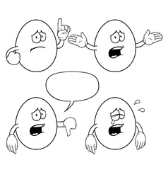 Black and white crying egg set vector