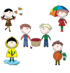 Autumn cute kids vector