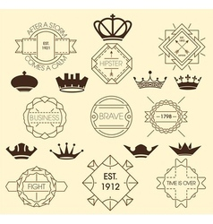 Vintage labels and royal crowns vector