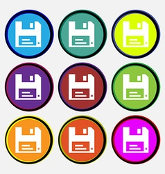 Floppy icon sign nine multi-colored round buttons vector