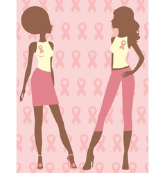 Breast cancer fighters silhouettes vector