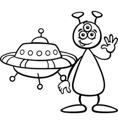 Alien with ufo for coloring book vector