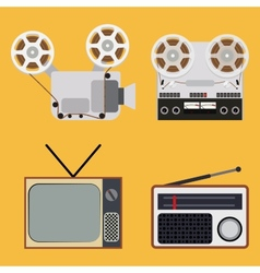 Flat design retro objects with a film projector vector