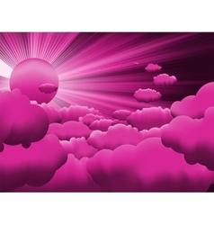 Sun and purple sky vector