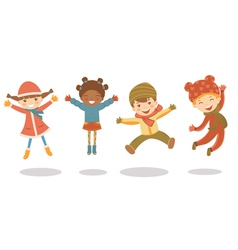 Jumping winter kids vector