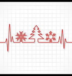 Heartbeat make christmas symbols vector