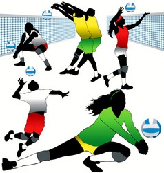 Volleyball players set vector