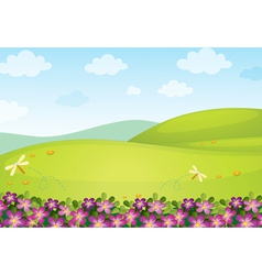 Floral field background background vector