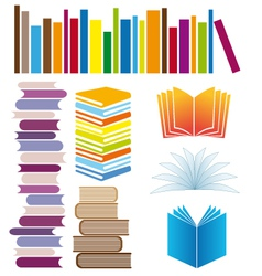 Set of book arrangements vector