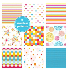 Set of nine rainbow seamless patterns vector