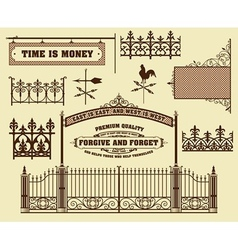 Wrought iron wicket fence and gates grilles vector