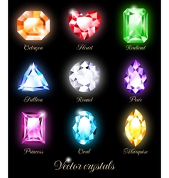 Set of colored crystals vector