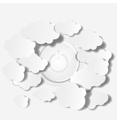 Abstract clouds and power button background vector