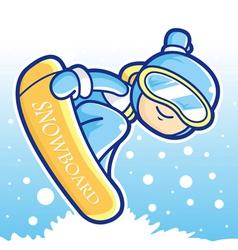 Dynamic jump snowboarding man mascot vector