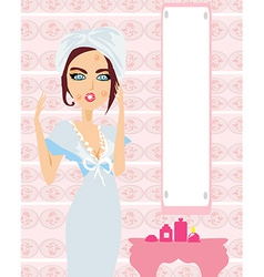 Pretty girl with pimples vector