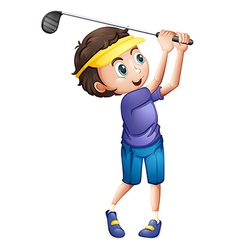 A young boy golfing vector