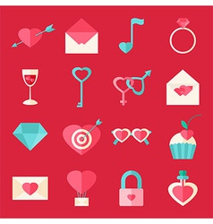 Valentine day flat icons over red vector