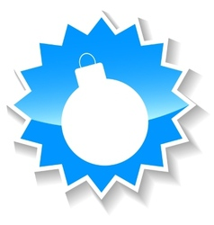 Bomb blue icon vector