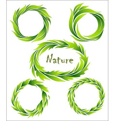 Set of wreaths green stylized leaves vector