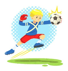 Soccer boy jump aside to catch the ball vector