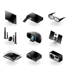 Electronics icon set - tv and audio vector