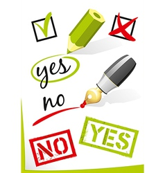 Yes and no written on paper vector