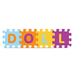 Doll written with alphabet puzzle vector