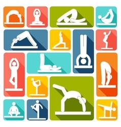 Yoga exercises icons flat vector