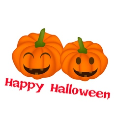 Two jack-o-lantern pumpkins in happy halloween vector