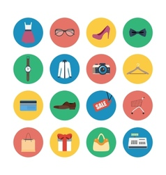 Collection of modern flat shopping icons vector