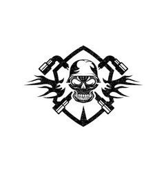 Grunge crest with skull in helmet and spanners vector