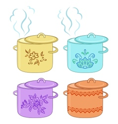 Boiling pan with pattern set vector