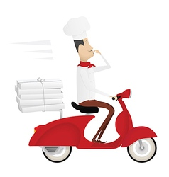 Funny italian chef delivering pizza vector