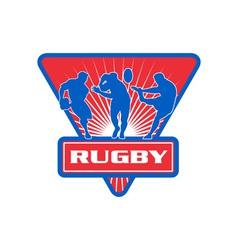 Rugby player run fend pass kick vector
