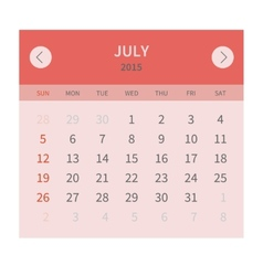 Calendar monthly july 2015 in flat design vector