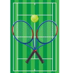 Tennis court rackets and ball vector