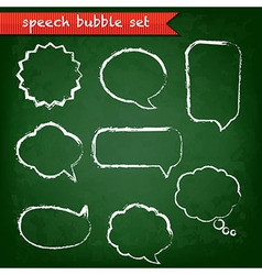 Green chalk board with speech bubbles set vector