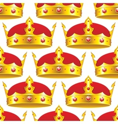Golden crown in seamless pattern vector