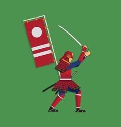 Samurai warrior brandishing sword vector