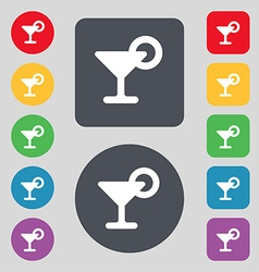 Drink cocktail with a lemon icon sign a set of 12 vector