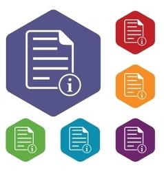 Information document hexagon icon set vector