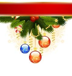 Christmas card with fir mistletoe and decoration f vector