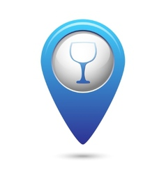 Map pointer with goblet icon vector
